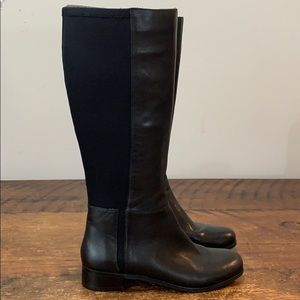 Nine West Selenao Black Stretch Back Boots  Sz 6.5